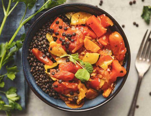 Warzywna potrawka z czarną soczewicą